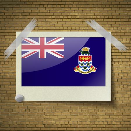 cayman: Flags of Cayman Islands at frame on a brick background. Vector illustration Illustration