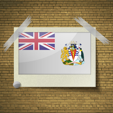 antarctic: Flags of British Antarctic Territory at frame on a brick background. Vector illustration Illustration