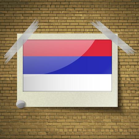 republika: Flags of Republika Srpska at frame on a brick background. Vector illustration
