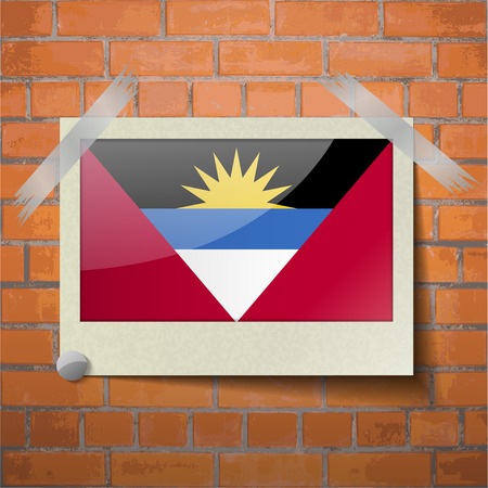 antigua barbuda: Flags of Antigua and Barbuda scotch taped to a red brick wall. Vector Illustration