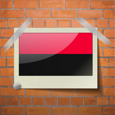 nationalists: Flags of UPA scotch taped to a red brick wall. Vector Illustration