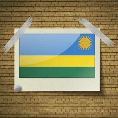 brick background: Bandiere del Ruanda a telaio su uno sfondo di mattoni. Illustrazione vettoriale
