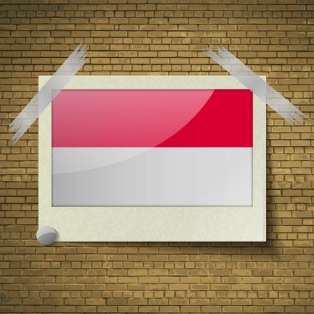 brick background: Bandiere di Monaco in cornice su uno sfondo di mattoni. Illustrazione vettoriale