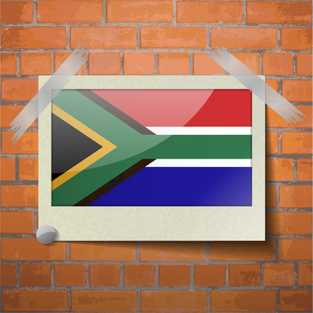 cape town: Flags of South Afreica scotch taped to a red brick wall. Vector