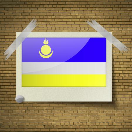 brick background: Bandiere della Buriazia a telaio su uno sfondo di mattoni. Illustrazione vettoriale Vettoriali