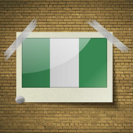 anthem: Flags of Nigeria at frame on a brick background. Vector illustration Illustration