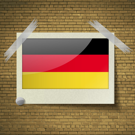 deutsch: Flags of Germany at frame on a brick background. Vector illustration Illustration