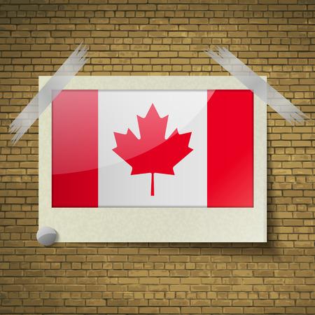 brick background: Bandiere del Canada in cornice su uno sfondo di mattoni. Illustrazione vettoriale