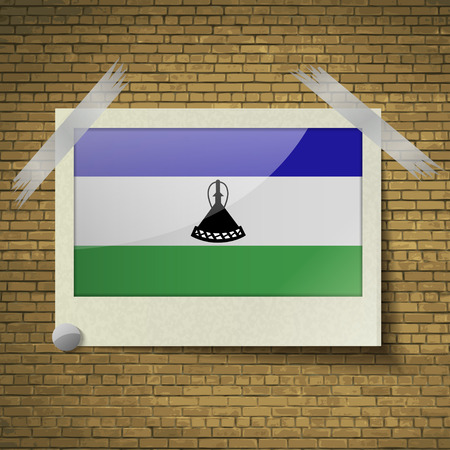 lesotho: Flags of Lesothe at frame on a brick background. Vector illustration