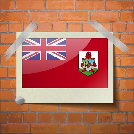 scotch: Flags of Bermuda scotch taped to a red brick wall. Vector Illustration