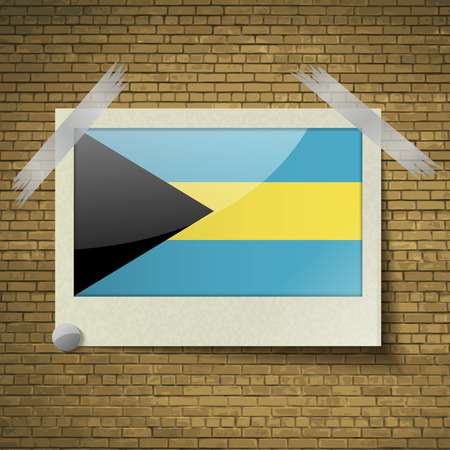 brick background: Flags of Bahamas at frame on a brick background. Vector illustration