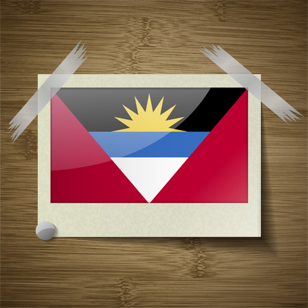 barbuda: Flags of Antigua and Barbuda at frame on wooden texture. Vector illustration Illustration