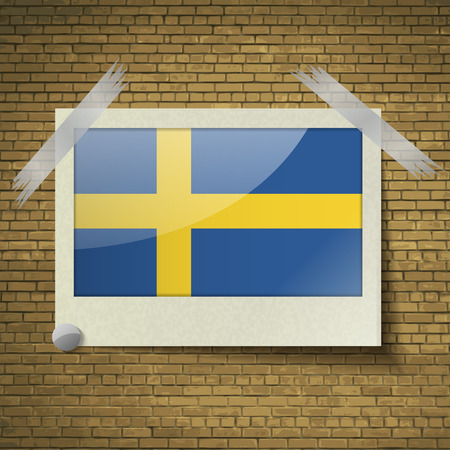 correctly: Flags of Sweden at frame on a brick background. Vector illustration
