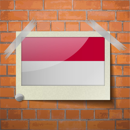 scotch: Flags of Indonesia scotch taped to a red brick wall. Vector Illustration