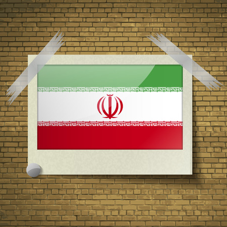 Flags of Iran at frame on a brick background. Vector illustration Illustration