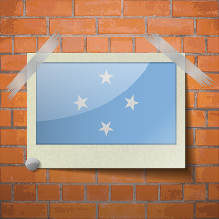 micronesia: Flags of Micronesia scotch taped to a red brick wall. Vector Illustration
