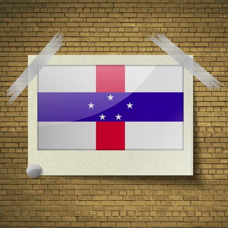 antilles: Flags of Netherlands Antilles at frame on a brick background. Vector illustration Illustration