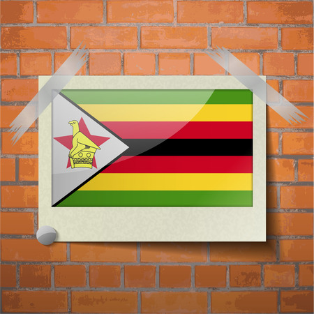 proportional: Flags of Zimbabwe scotch taped to a red brick wall. Vector