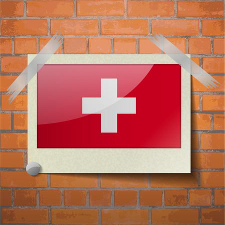 europe closeup: Flags of Switzerland scotch taped to a red brick wall. Vector