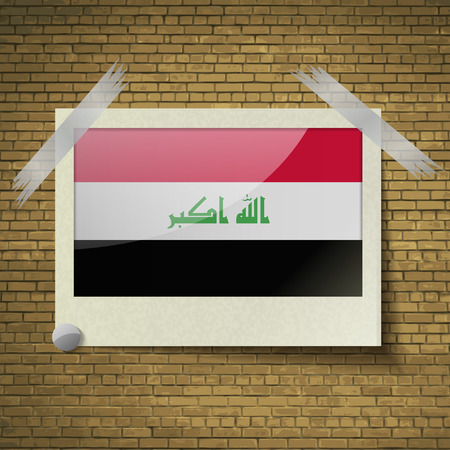 taliban: Flags of Iraq at frame on a brick background. Vector illustration
