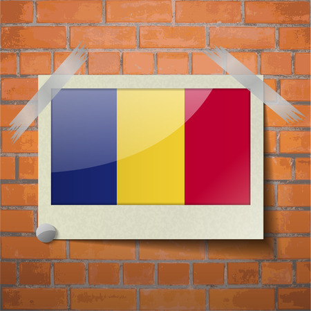 europe closeup: Flags of Romania scotch taped to a red brick wall. Vector Illustration