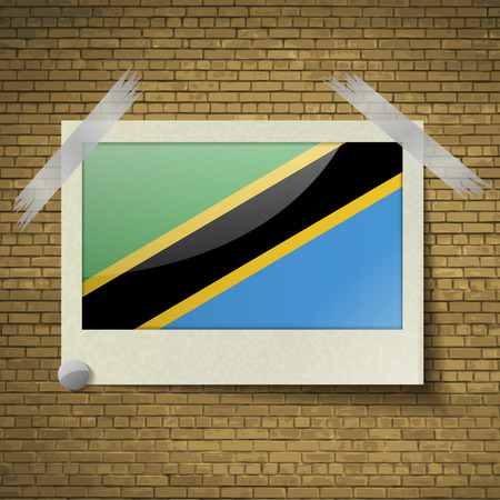 brick background: Flags of Tanzania at frame on a brick background. Vector illustration