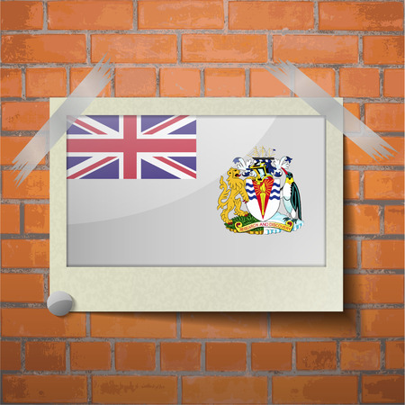 antarctic: Flags of British Antarctic Territory scotch taped to a red brick wall. Vector Illustration