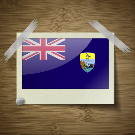 retrospective: Flags of Saint Helena at frame on wooden texture. Vector illustration
