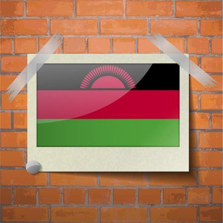 Flags of Malawi scotch taped to a red brick wall. Vector Vector