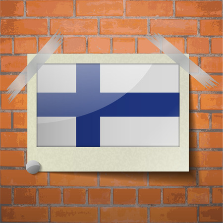scandinavia: Flags of Finland scotch taped to a red brick wall. Vector