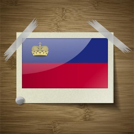 princely: Flags of Liechtenstein at frame on wooden texture. Vector illustration Illustration