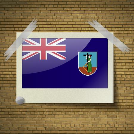 montserrat: Flags of Montserrat at frame on a brick background. Vector illustration