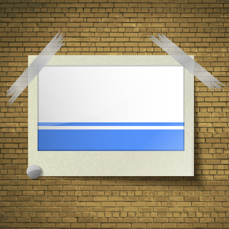 altai: Flags of Altai Republic at frame on a brick background. Vector illustration