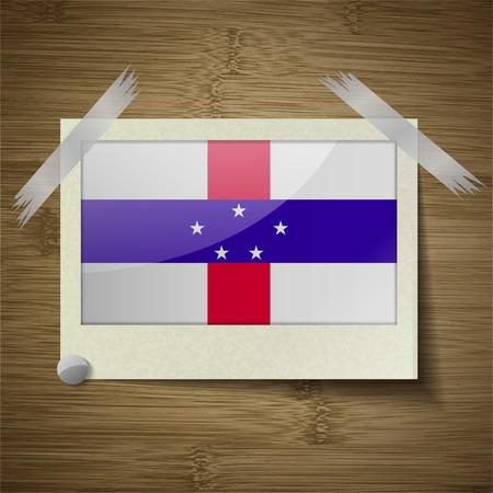 antilles: Flags of Netherlands Antilles at frame on wooden texture. Vector illustration Illustration