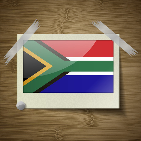 cape town: Flags of South Afreica at frame on wooden texture. Vector illustration