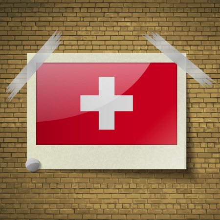 brick background: Flags of Switzerland at frame on a brick background. Vector illustration Vettoriali