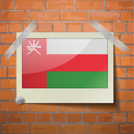 flagged: Flags of Oman scotch taped to a red brick wall. Vector