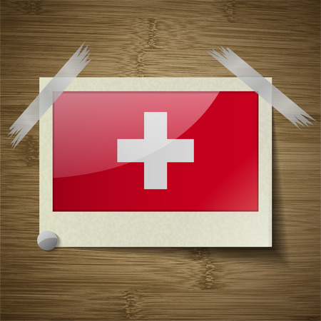 europe closeup: Flags of Switzerland at frame on wooden texture. Vector illustration