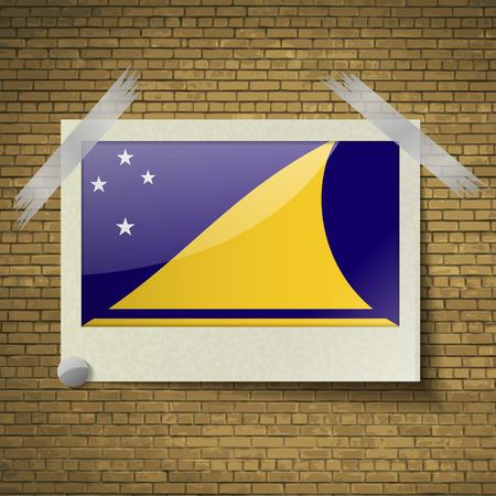 tokelau: Flags of Tokelau at frame on a brick background. Vector illustration Illustration