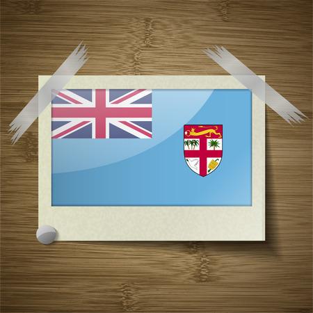 fiji: Flags of Fiji at frame on wooden texture. Vector illustration Illustration