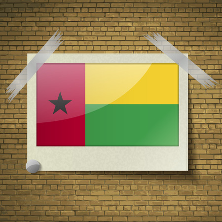 flagged: Flags of GuineaBissau at frame on a brick background. Vector illustration