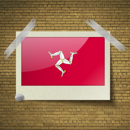 isles: Flags of Isle of man at frame on a brick background. Vector illustration