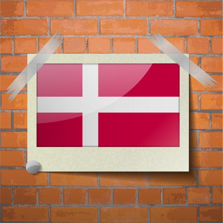 europe closeup: Flags of Denmark scotch taped to a red brick wall. Vector Illustration