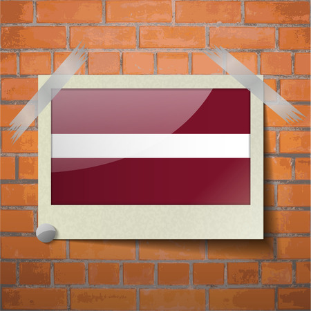 europe closeup: Flags of Latvia scotch taped to a red brick wall. Vector Illustration