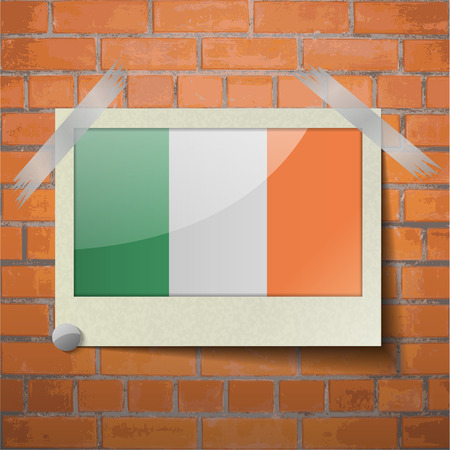irish banners: Flags of Ireland scotch taped to a red brick wall. Vector Illustration