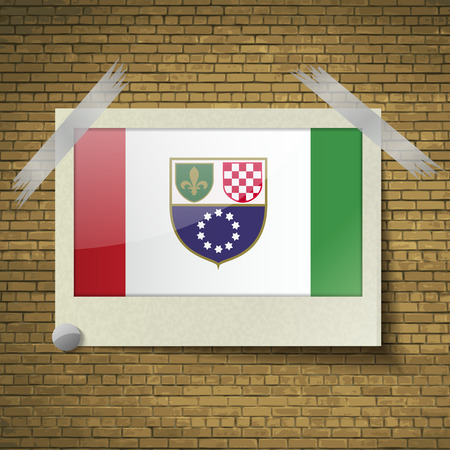 wallpaper  eps 10: Flags of Bosnia and Herzegovina Federation at frame on a brick background. Vector illustration