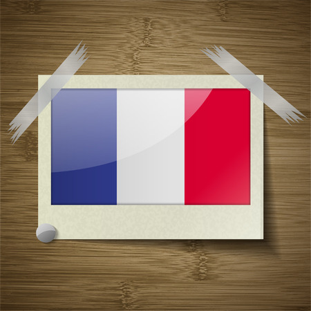 frence: Flags of Frence at frame on wooden texture. Vector illustration Illustration