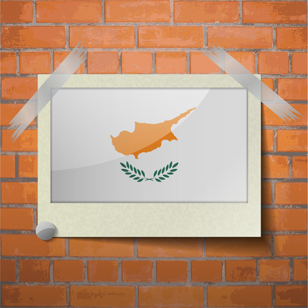 correctly: Flags of Cyprus scotch taped to a red brick wall. Vector