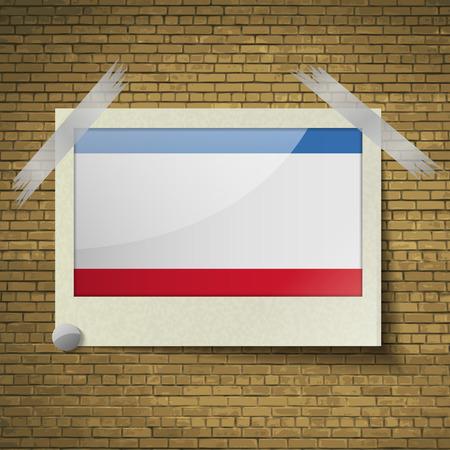 crimea: Flags of Crimea at frame on a brick background. Vector illustration Illustration