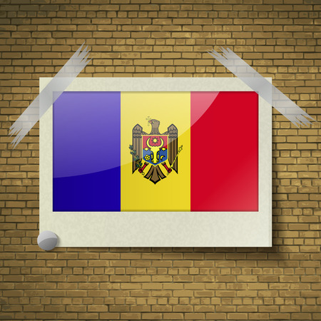 moldovan: Flags of Moldova at frame on a brick background. Vector illustration
